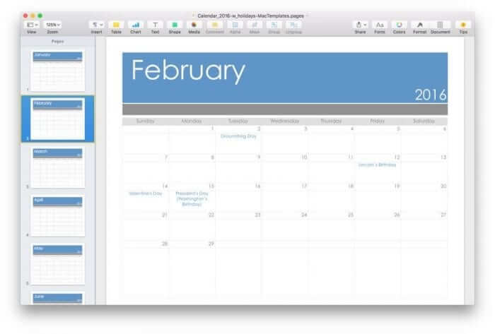 Mac Template Calendar for 2016 with US Holidays