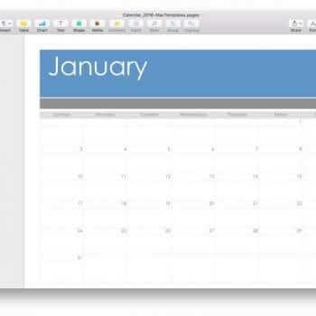 Mac Template Calendar for 2016 Blank