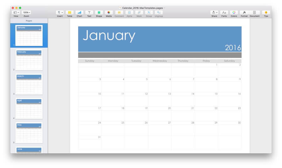 2016 Calendar Template For Pages Pdf Mactemplates