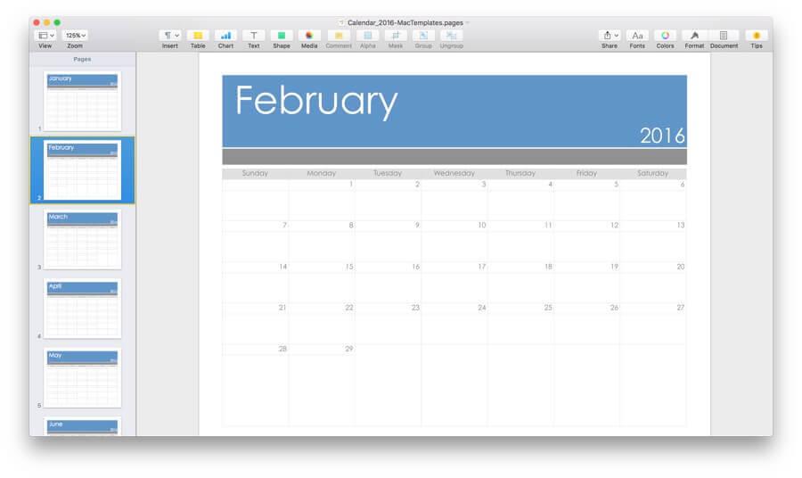 Calendar Template Mac 2016 Calendar Template 2016 PW7mdBHR