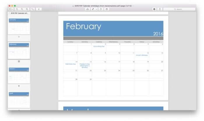 Pages Calendar Template for 2016