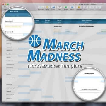 NCAA March Madness Bracket Template for Numbers and PDF