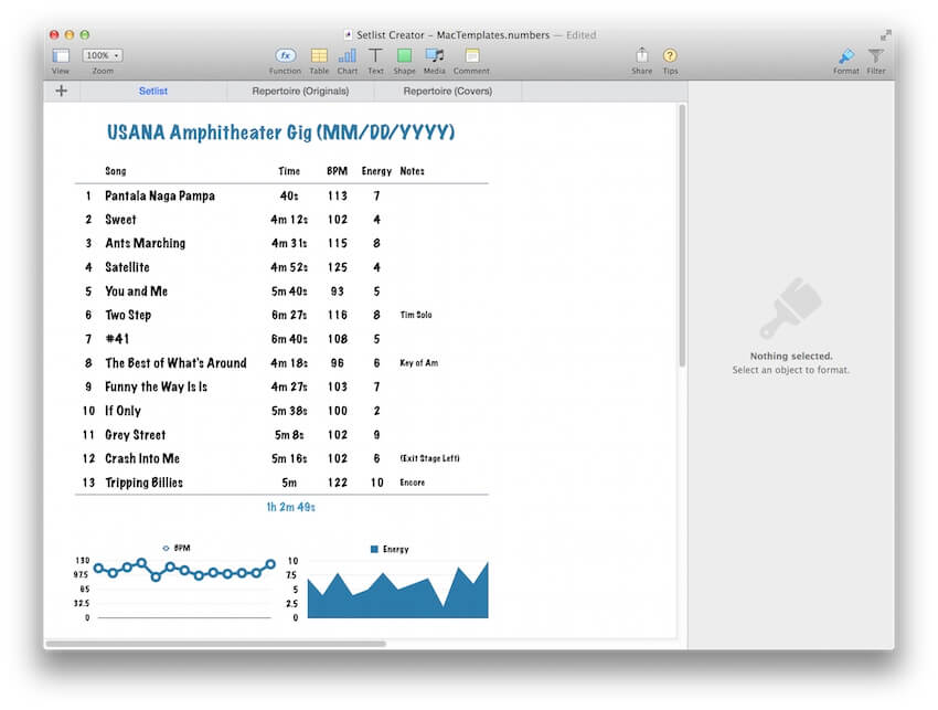 band set list template for iwork numbers