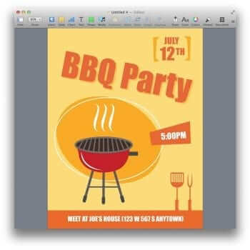 BBQ Party Invitation Poster Template for Pages