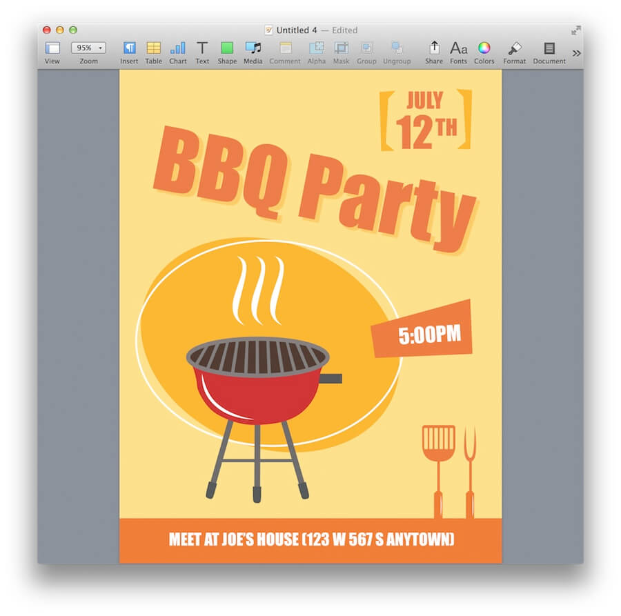 BBQ Party Invitation Template | MacTemplates.com