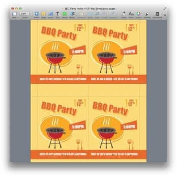 BBQ Party Invitation Template for Pages