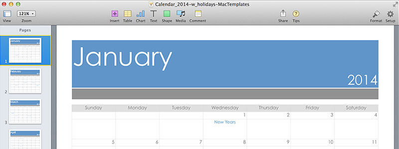 2014 Calendar Template for Pages