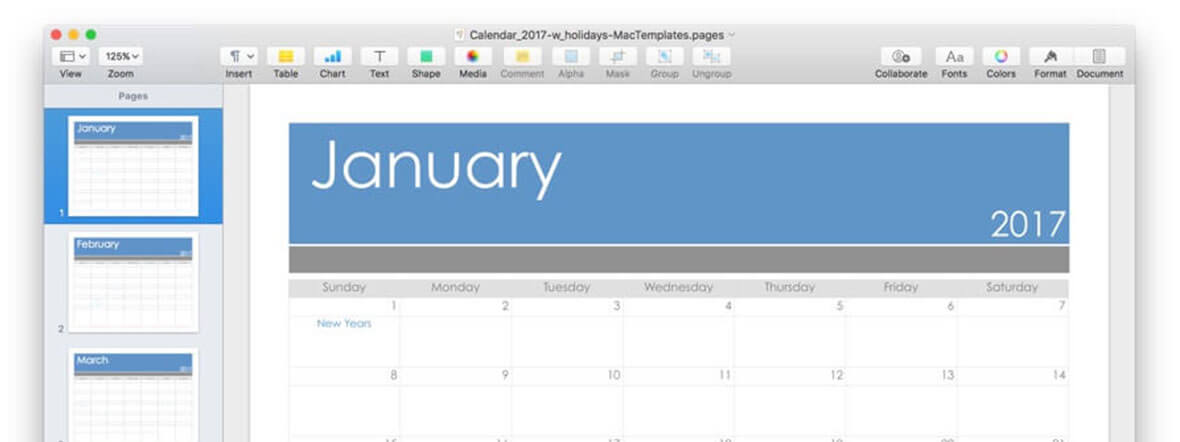 Calendar Template For Pages And Pdf Updated For 2017 Mactemplates