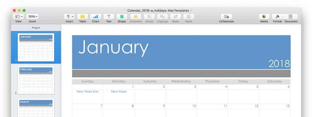 Calendar Template For Pages Or Pdf Updated For 2018 Mactemplates
