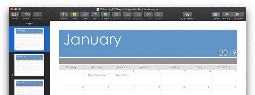 2019 Calendar Template Updated (Pages or PDF)