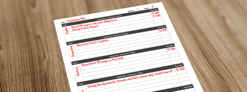 New Class Homework Tracker Template for Pages and PDF 1