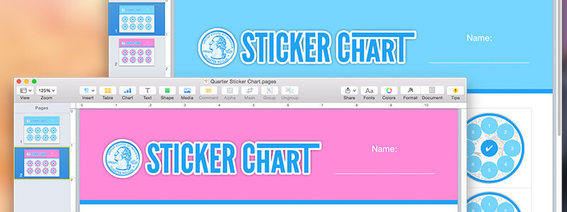 Kids Sticker Chart Template for Pages PDF and Word