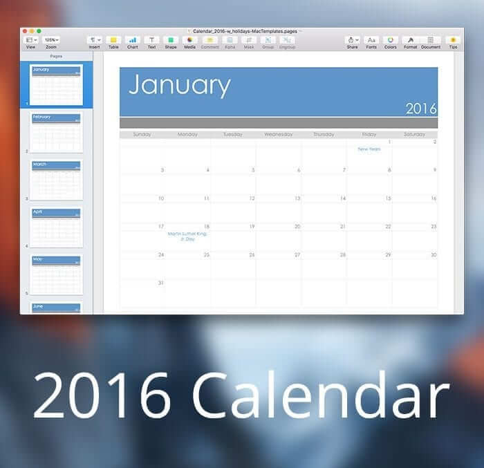 2016 Calendar Template for Apple Pages