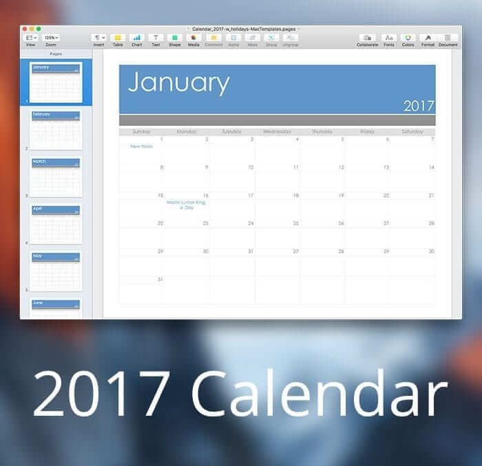 2017 Calendar Template For Pages Pdf Mactemplates