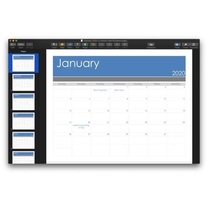 2020 Calendar Template for Pages or PDF 3