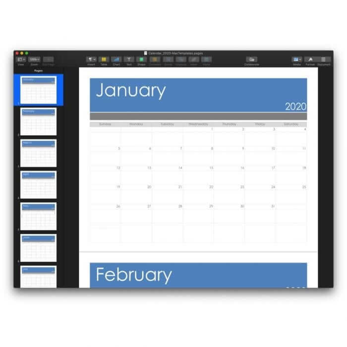 2020 Calendar Template for Pages or PDF 4