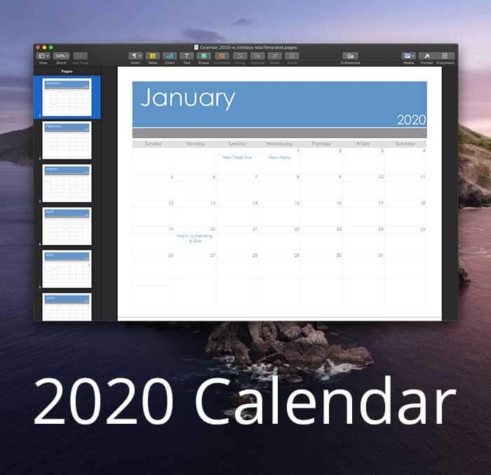 Pages Calendar Template for 2020