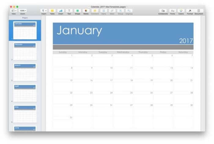 Pages Calendar Template for 2017