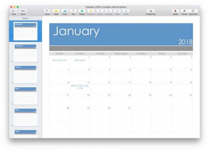 Pages Calendar Template for 2018