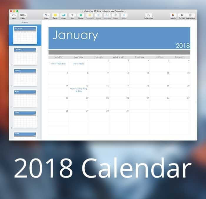 2018 Calendar Template for Pages or PDF