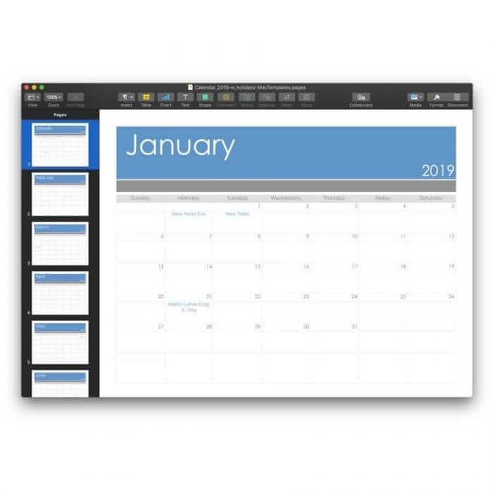 2019 Calendar Template for Pages or PDF 2