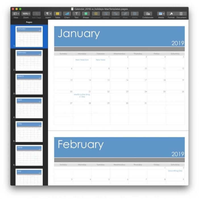2019 Calendar Template for Pages or PDF 4