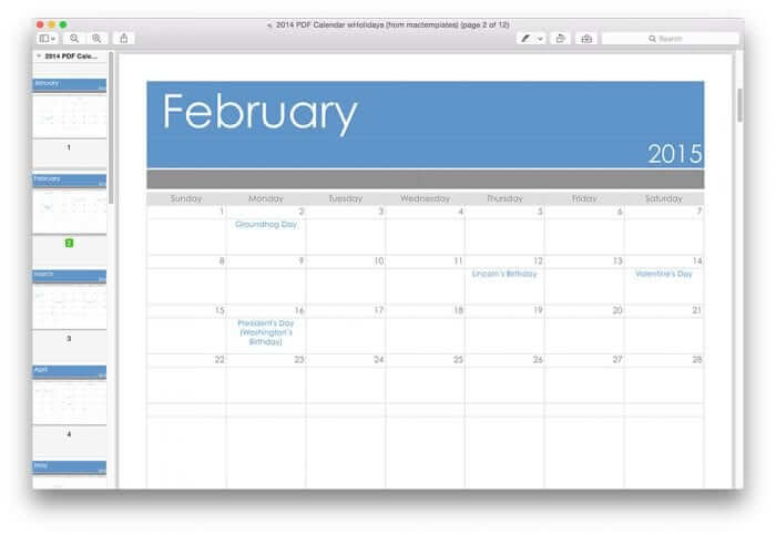 2015 Pages Calendar Template