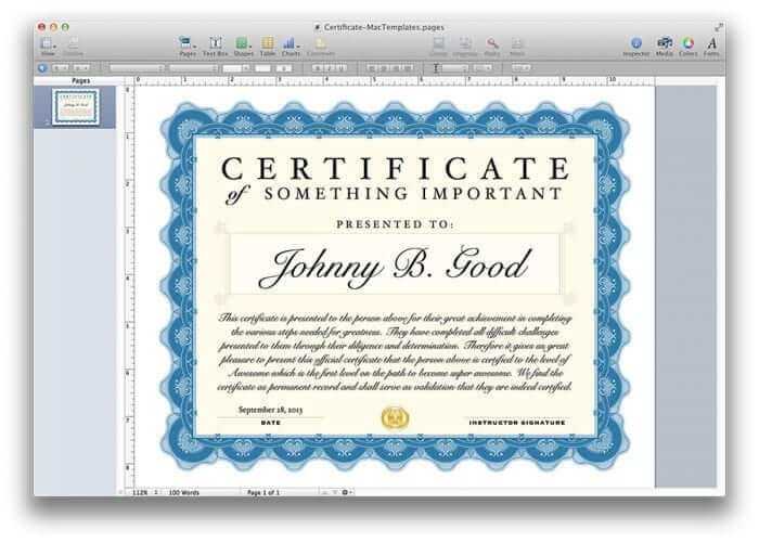 Certificate template for pages and pdf mactemplates yelopaper Image collections