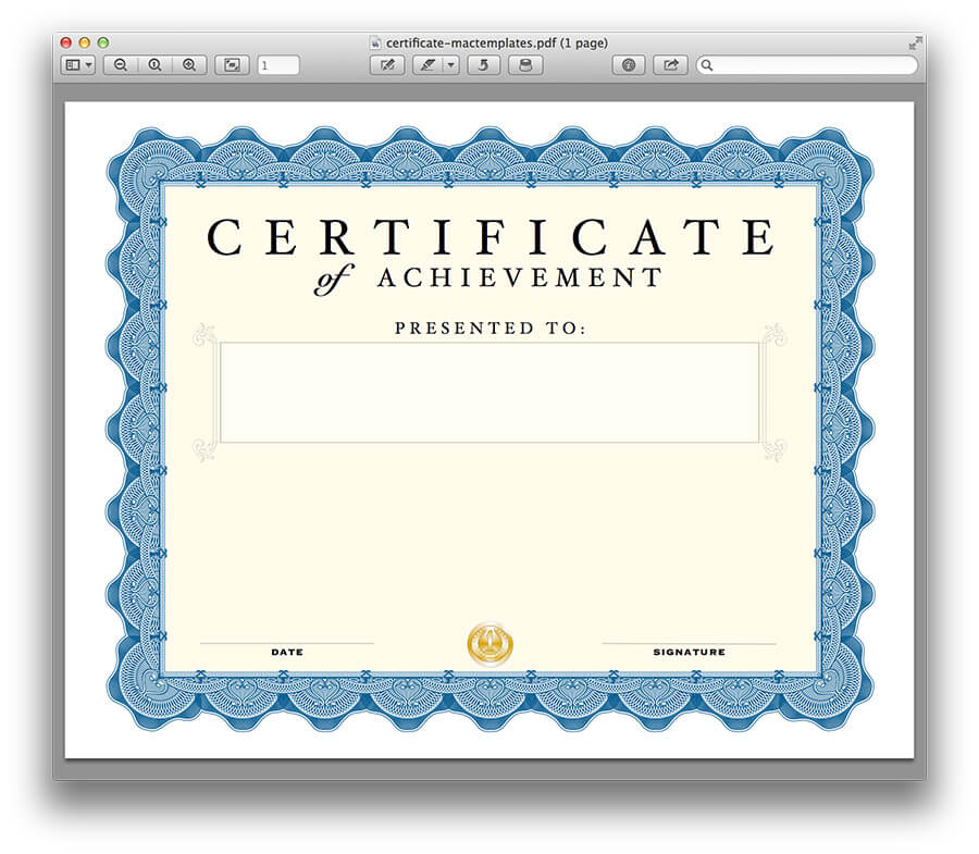 Certificate template for pages and pdf for Certification document template