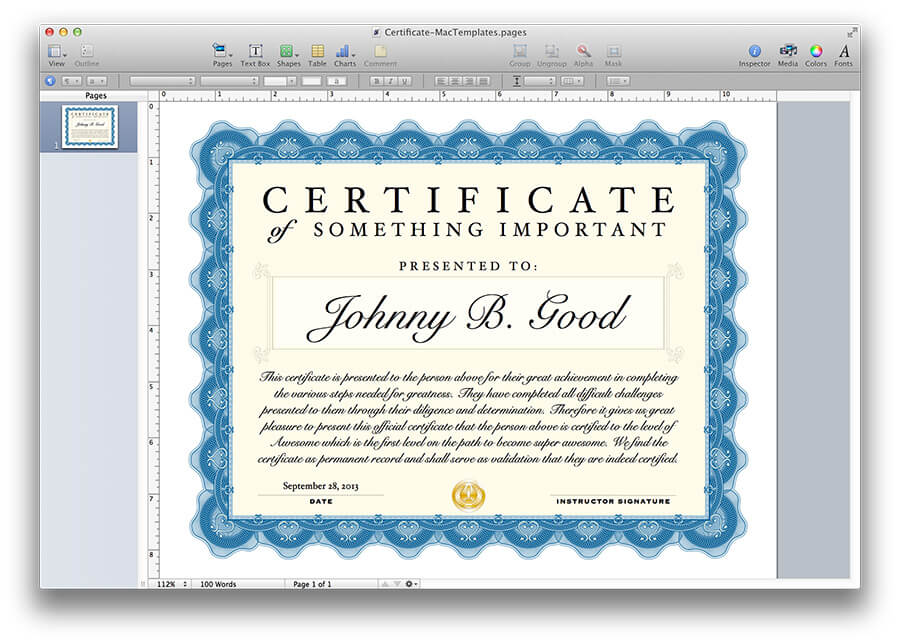 certificate template for pages - Pages Certificate Templates Free