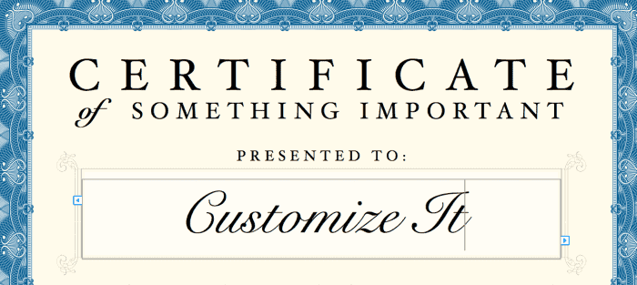 Certificate Template Customizable for Pages