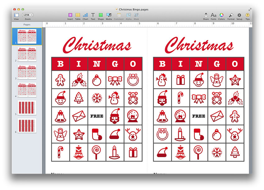 christmas bingo template pdf or pages