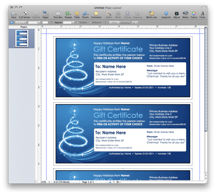 Pages Template Christmas Gift Certificate