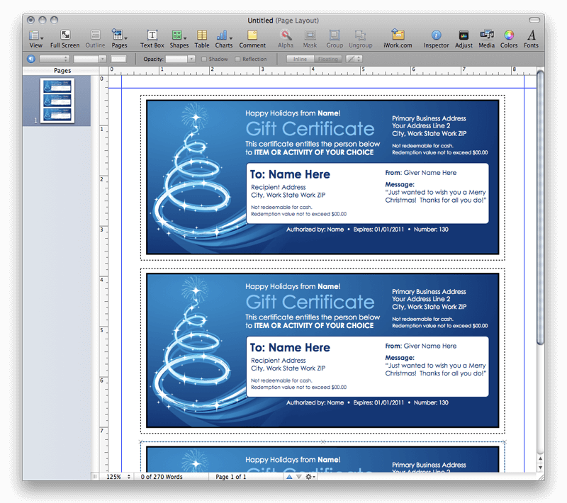 Christmas gift certificate template for Gift certificate template for mac