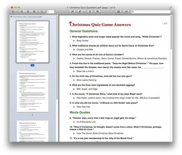 Christmas Quiz Game Template Answers