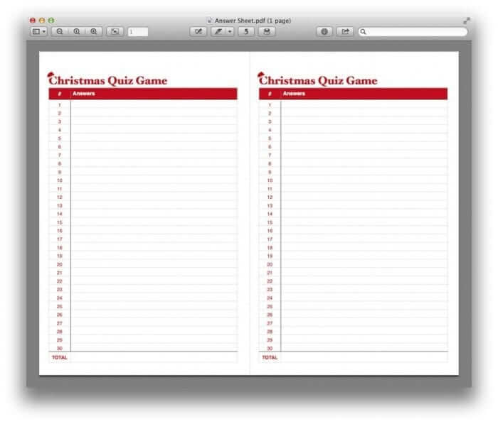 Christmas Quiz Game Template Blank Answer Sheet