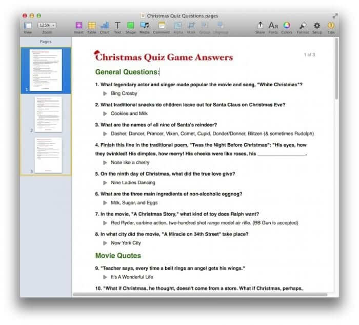 Christmas Quiz Game Template