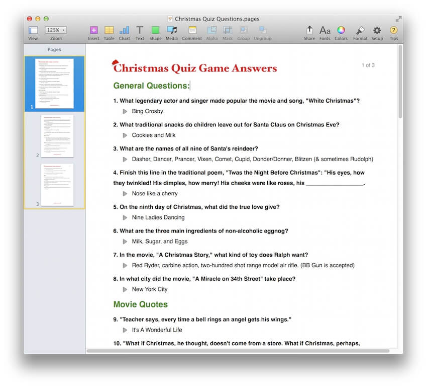 Christmas Quiz Game Template for PDF or Pages - MacTemplates.com
