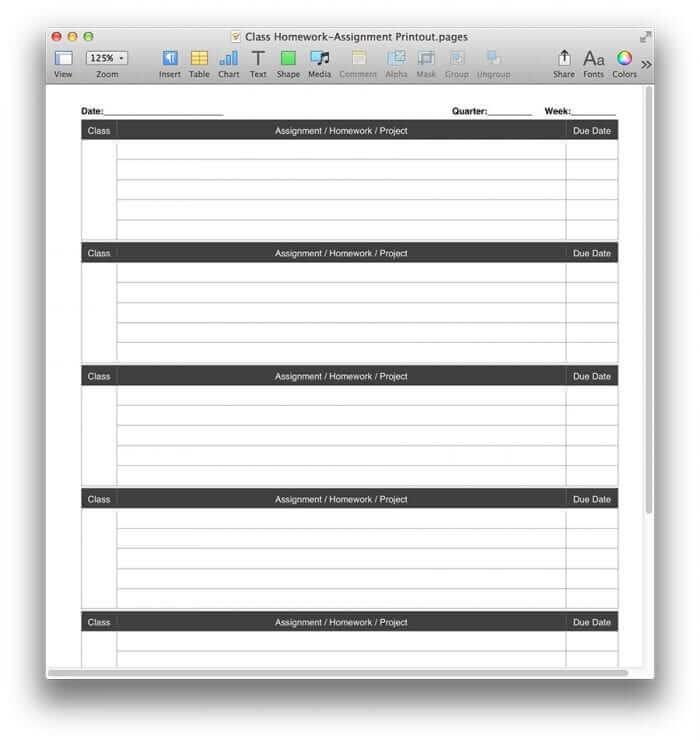 Class Homework Chart Template 1