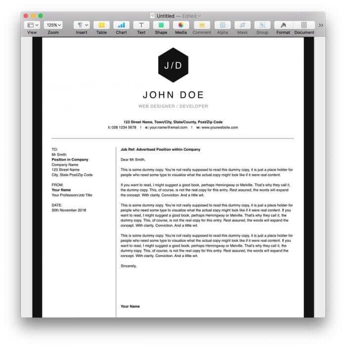 Clean Black and White Resume Template for Pages