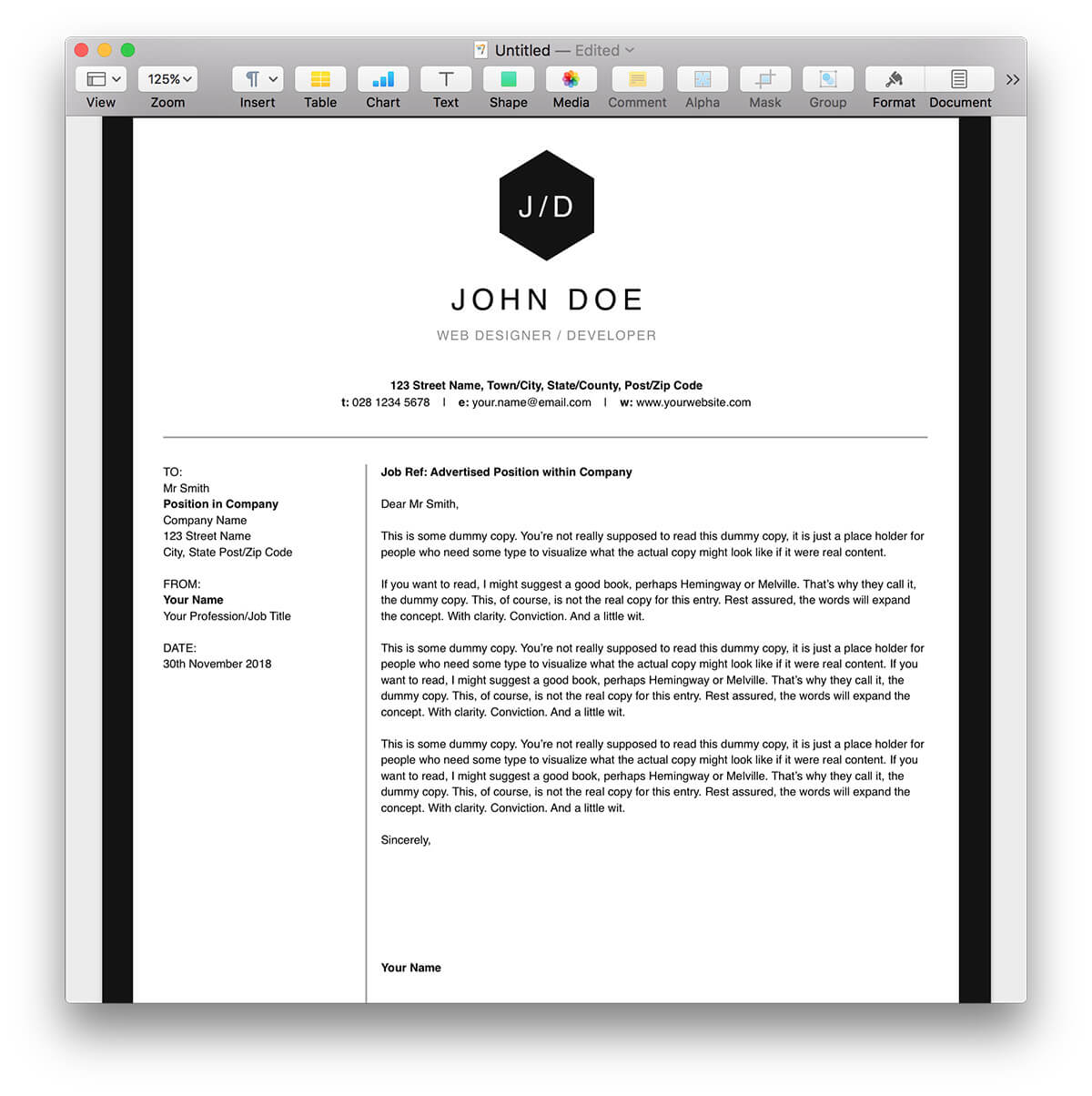 Clean Black and White Resume Template for Pages | MacTemplates.com
