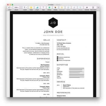 Clean Black and White Resume Template