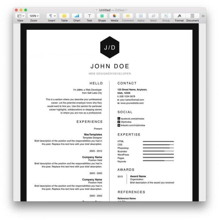 Clean BW Resume Template 1