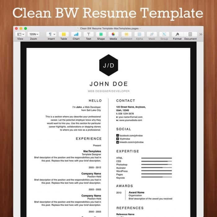 Clean formatted resume