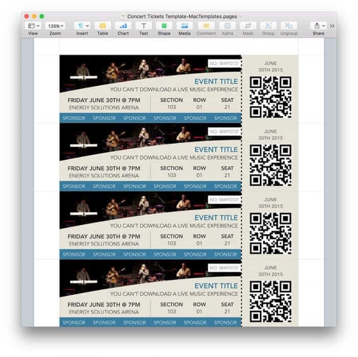 Concert Tickets Template for Pages