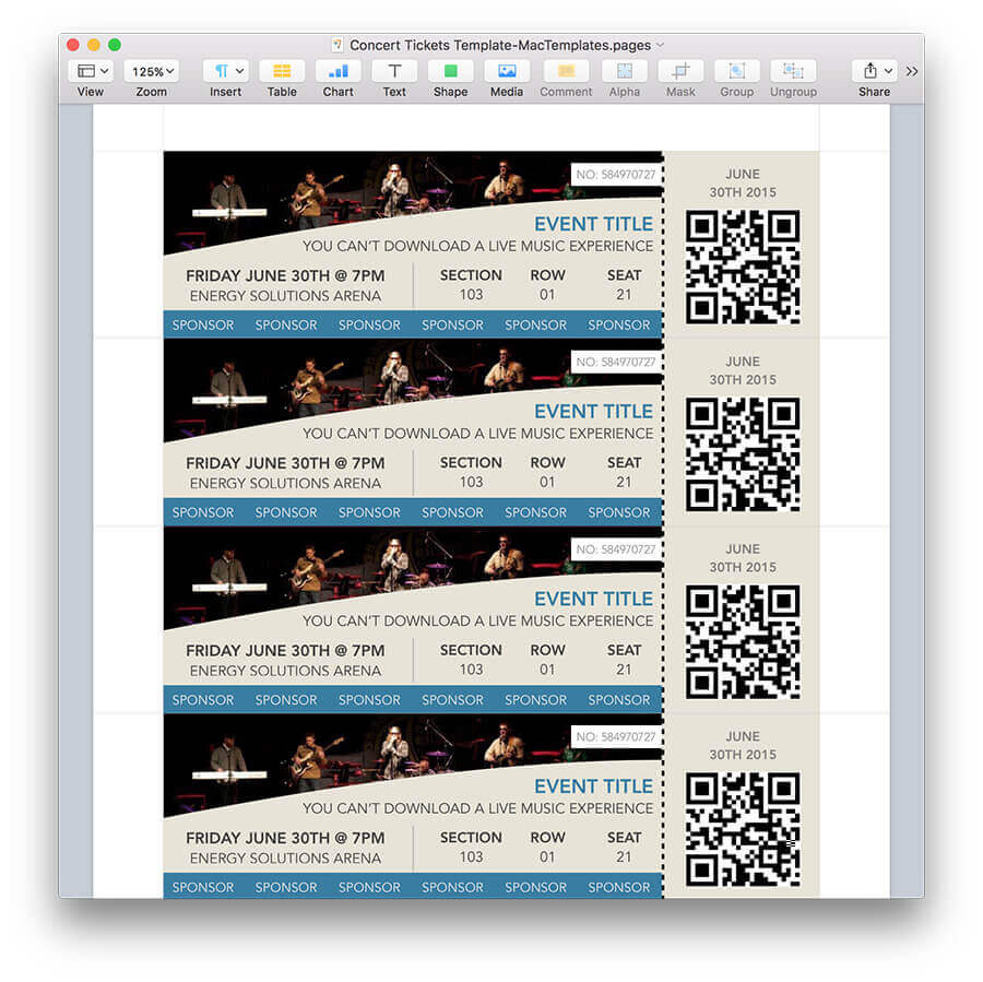 Concert Tickets Template for Pages – Ticket Template for Pages