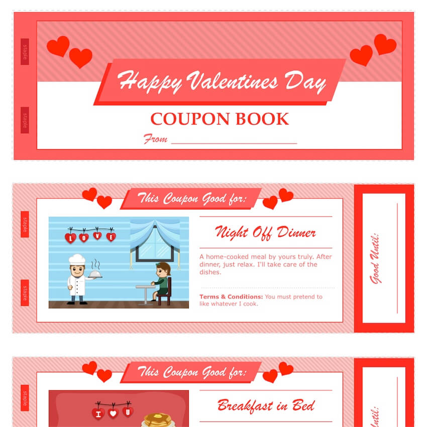 Valentine'S Day Coupon Book For Pages & Pdf - Mactemplates.Com