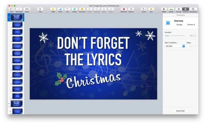 Don't Forget the Lyrics Christmas Keynote Game Template Example