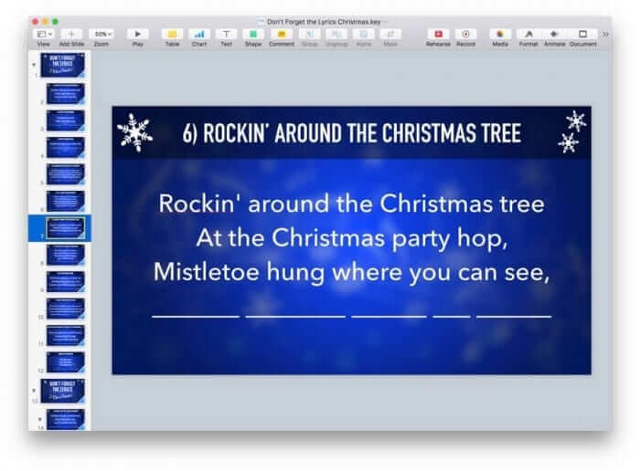 Don't Forget the Lyrics Christmas Keynote Game 3