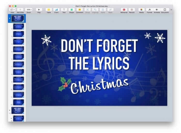 Don't Forget the Lyrics Christmas Keynote Game Template